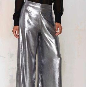 Nasty Gal Wide Leg Palazzo silver pants L